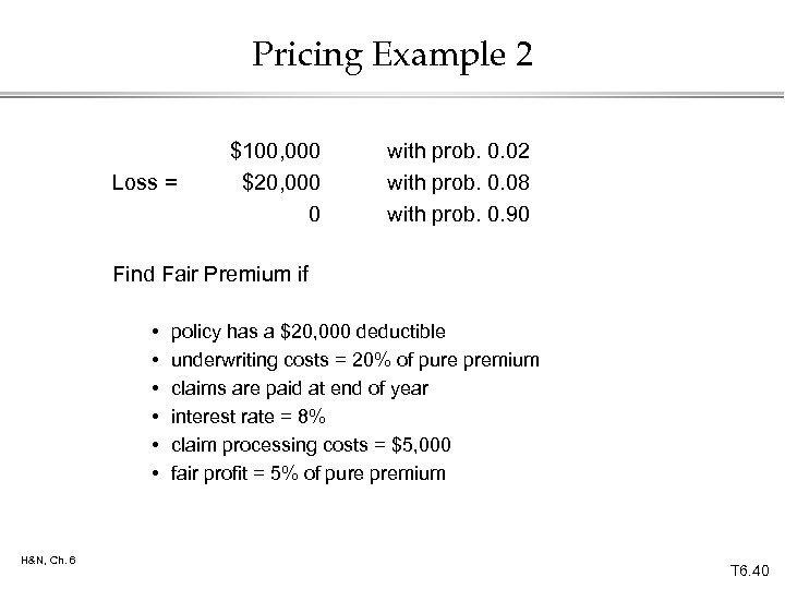 Pricing Example 2 Loss = $100, 000 $20, 000 0 with prob. 0. 02