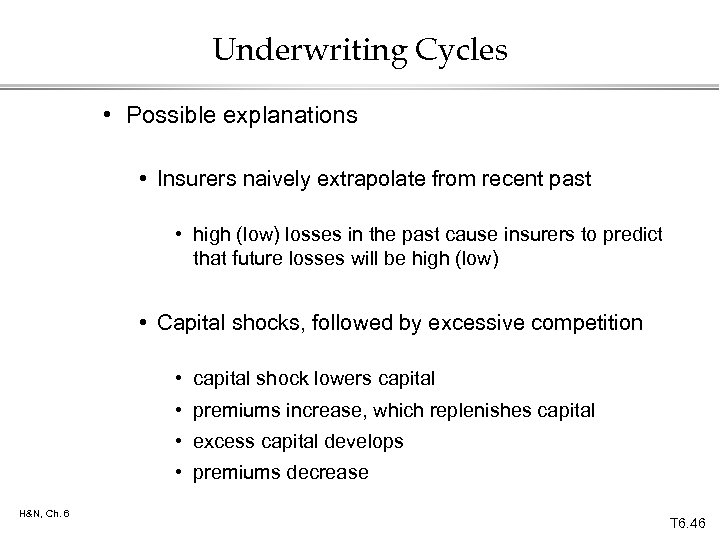 Underwriting Cycles • Possible explanations • Insurers naively extrapolate from recent past • high