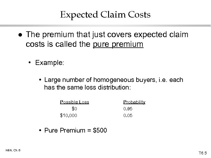 Expected Claim Costs l The premium that just covers expected claim costs is called