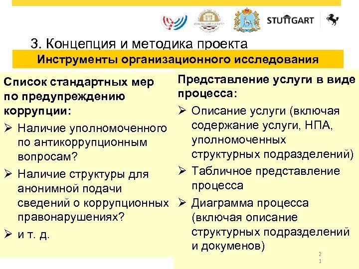 3. Концепция и методика проекта Инструменты организационного исследования Список стандартных мер по предупреждению коррупции: