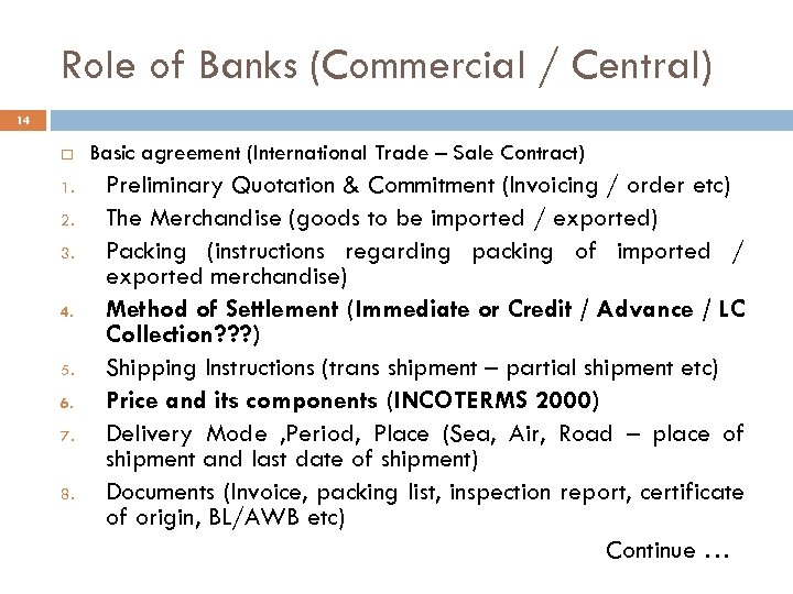 Role of Banks (Commercial / Central) 14 1. 2. 3. 4. 5. 6. 7.