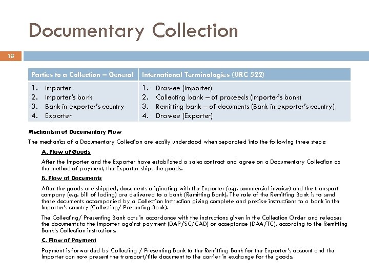 Documentary Collection 18 Parties to a Collection – General International Terminologies (URC 522) 1.