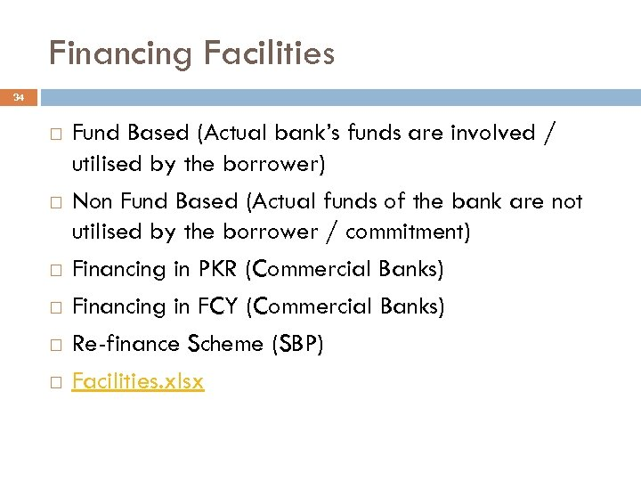 Financing Facilities 34 Fund Based (Actual bank's funds are involved / utilised by the