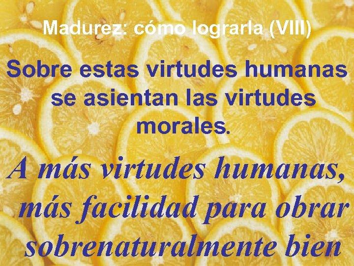 Madurez: cómo lograrla (VIII) Sobre estas virtudes humanas se asientan las virtudes morales. A