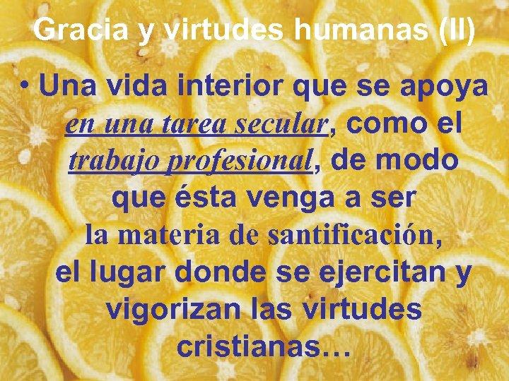 Gracia y virtudes humanas (II) • Una vida interior que se apoya en una