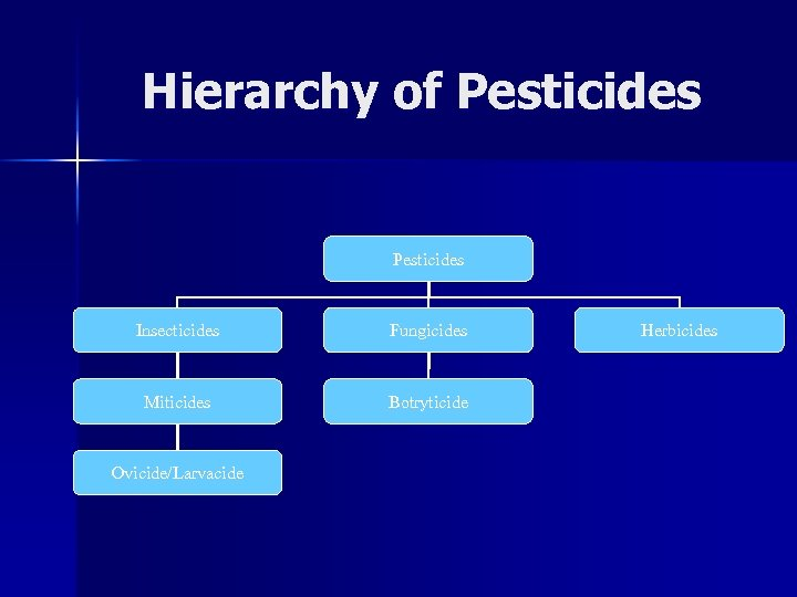 Hierarchy of Pesticides Insecticides Fungicides Miticides Botryticide Ovicide/Larvacide Herbicides