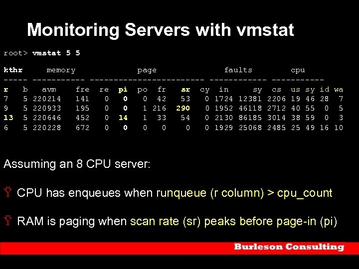 Monitoring Servers with vmstat root> vmstat 5 5 kthr memory page faults cpu ------------