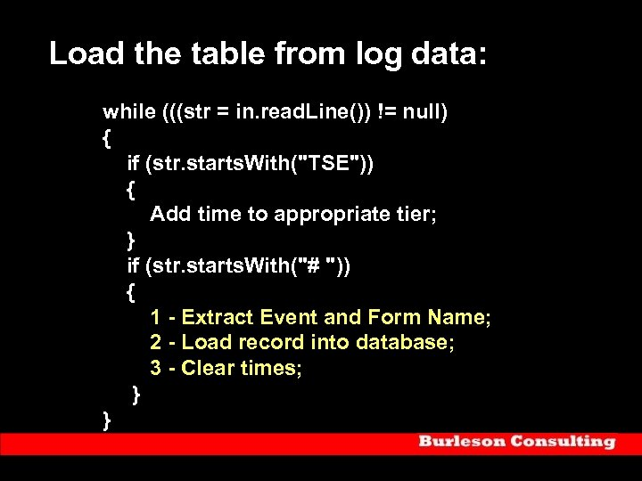 Load the table from log data: while (((str = in. read. Line()) != null)