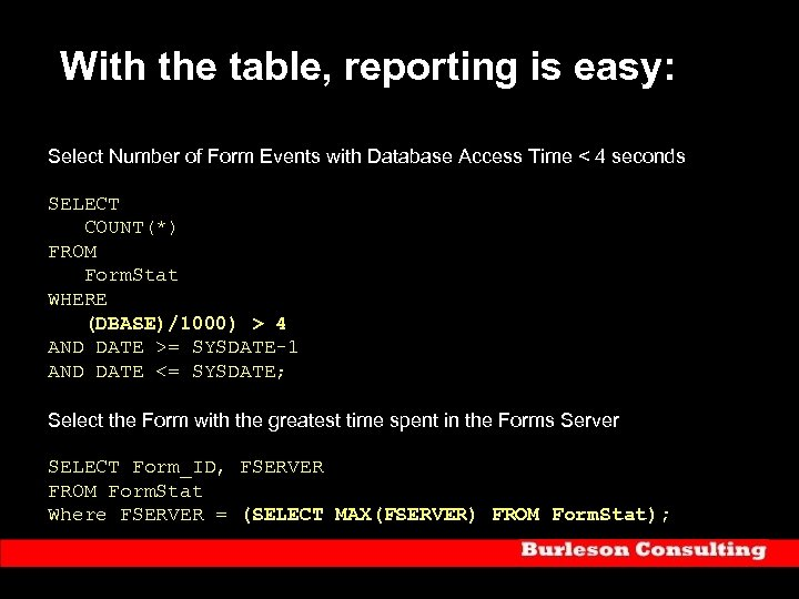 With the table, reporting is easy: Select Number of Form Events with Database Access