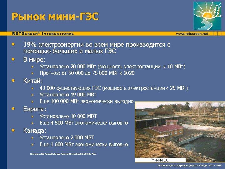 Рынок мини-ГЭС • • 19% электроэнергии во всем мире производится с помощью больших и