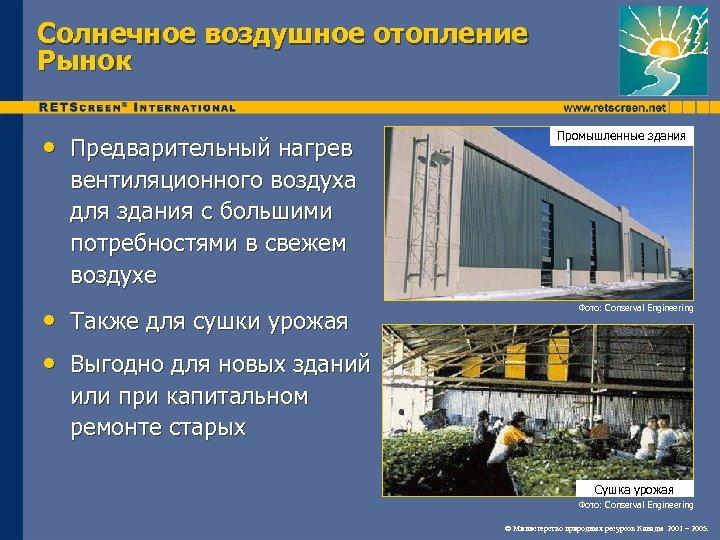 Солнечное воздушное отопление Рынок • Предварительный нагрев Промышленные здания вентиляционного воздуха для здания с