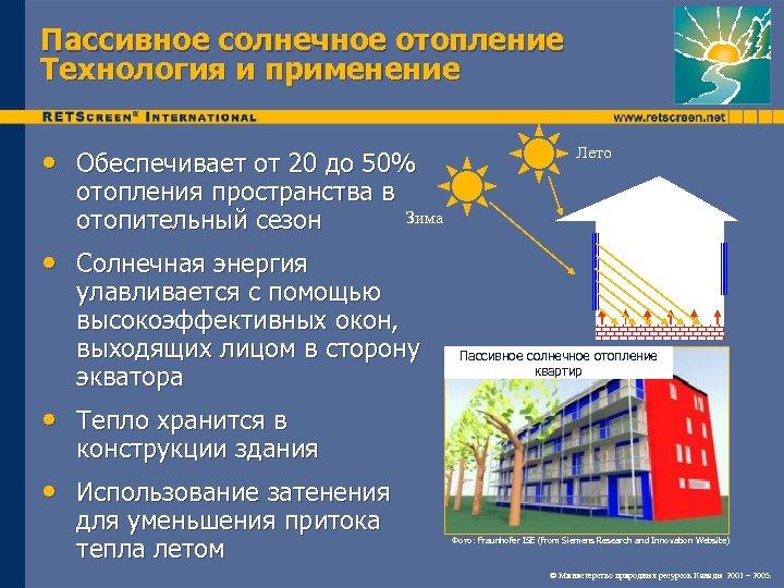 Пассивное солнечное отопление Технология и применение • Обеспечивает от 20 до 50% отопления пространства