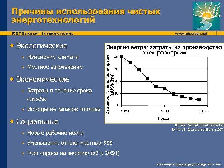 Причины использования чистых энерготехнологий 4 Изменение климата 4 Местное загрязнение • Экономические 4 Затраты