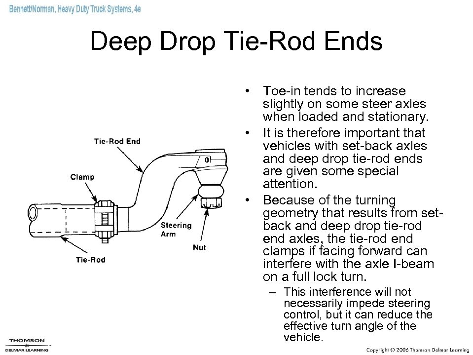 Deep Drop Tie-Rod Ends • Toe-in tends to increase slightly on some steer axles