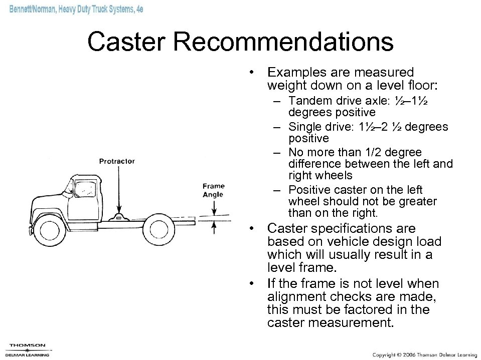 Caster Recommendations • Examples are measured weight down on a level floor: – Tandem
