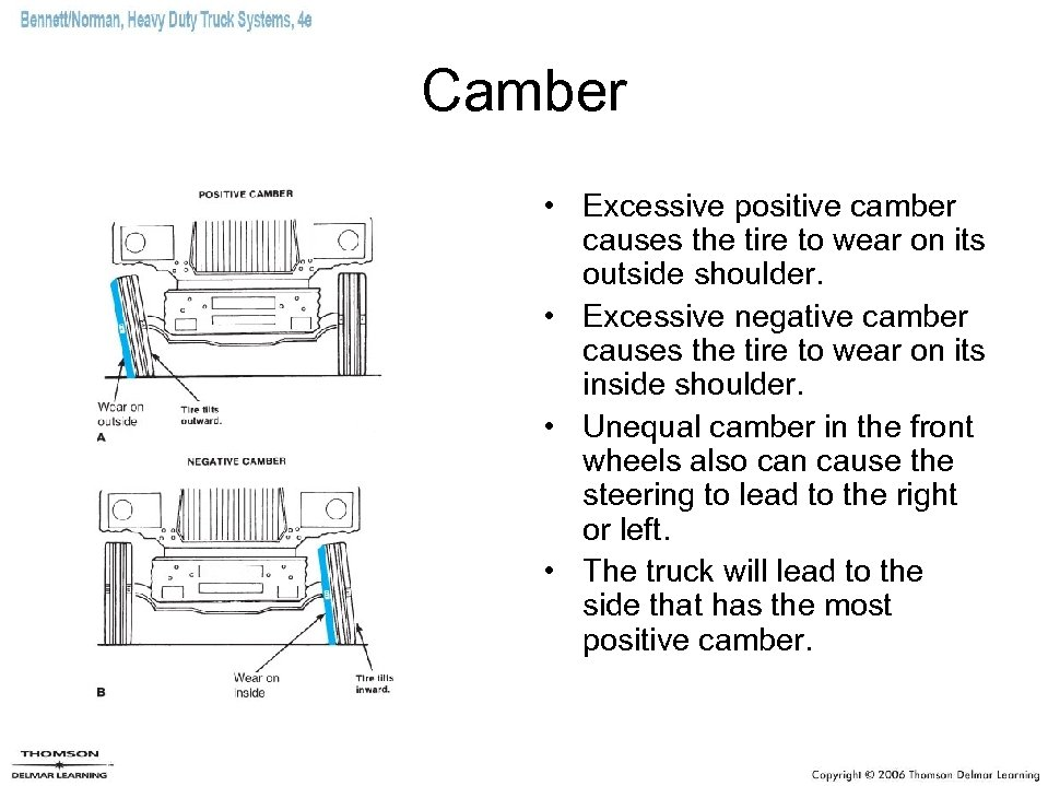 Camber • Excessive positive camber causes the tire to wear on its outside shoulder.
