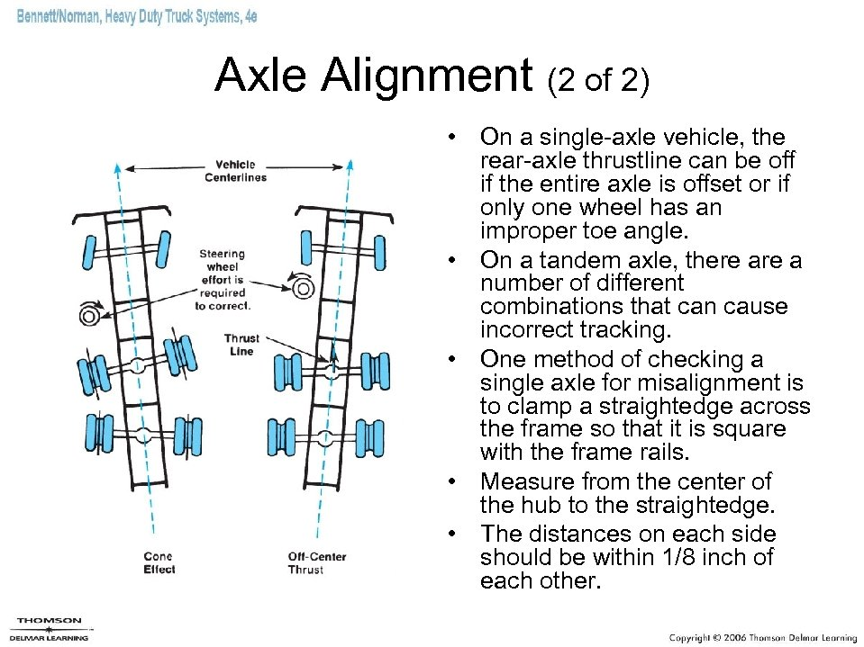 Axle Alignment (2 of 2) • On a single-axle vehicle, the rear-axle thrustline can