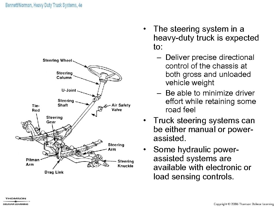 • The steering system in a heavy-duty truck is expected to: – Deliver