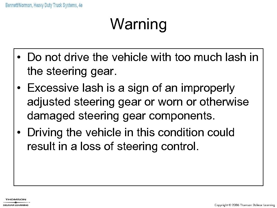 Warning • Do not drive the vehicle with too much lash in the steering