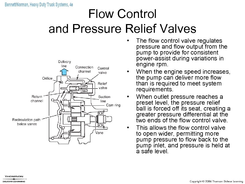 Flow Control and Pressure Relief Valves • • The flow control valve regulates pressure