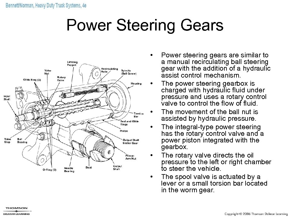 Power Steering Gears • • • Power steering gears are similar to a manual