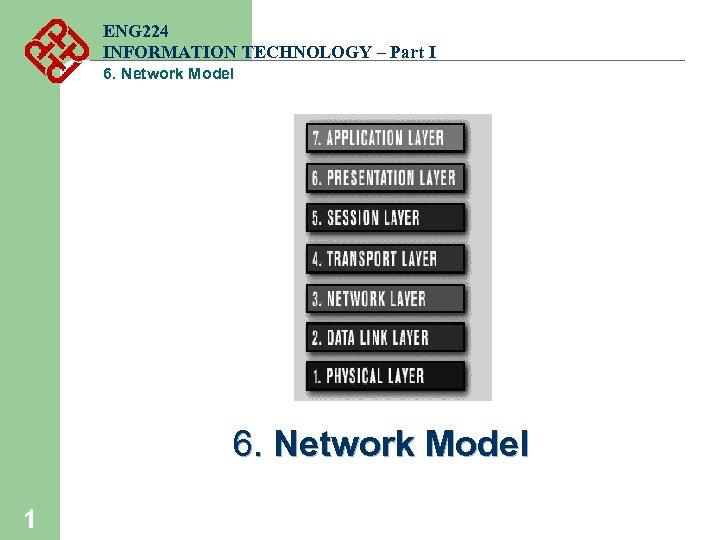 ENG 224 INFORMATION TECHNOLOGY – Part I 6. Network Model 1