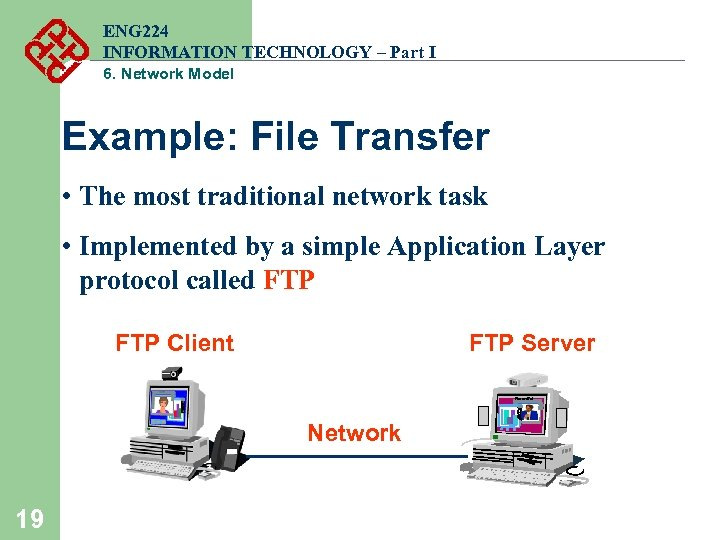 ENG 224 INFORMATION TECHNOLOGY – Part I 6. Network Model Example: File Transfer •
