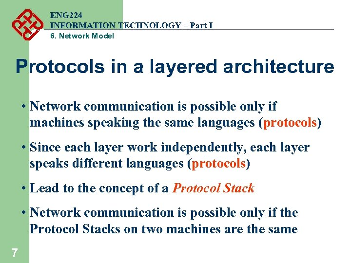 ENG 224 INFORMATION TECHNOLOGY – Part I 6. Network Model Protocols in a layered