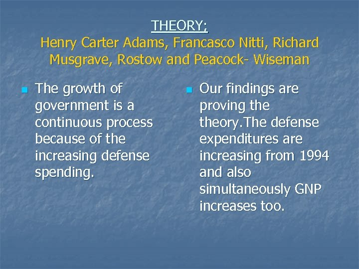 THEORY; Henry Carter Adams, Francasco Nitti, Richard Musgrave, Rostow and Peacock- Wiseman n The