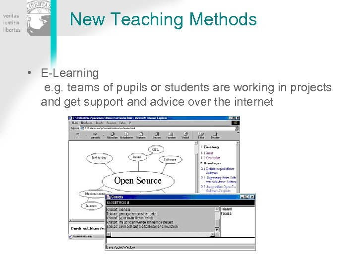 New Teaching Methods • E-Learning e. g. teams of pupils or students are working