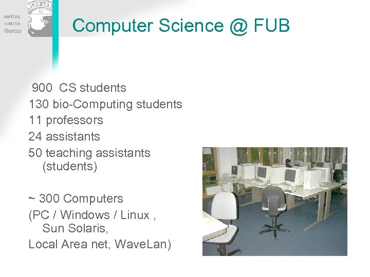 Computer Science @ FUB 900 CS students 130 bio-Computing students 11 professors 24 assistants