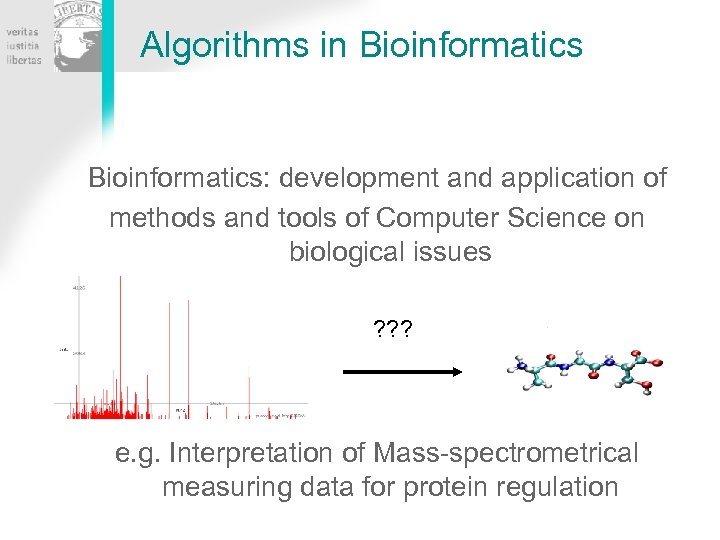 Algorithms in Bioinformatics: development and application of methods and tools of Computer Science on