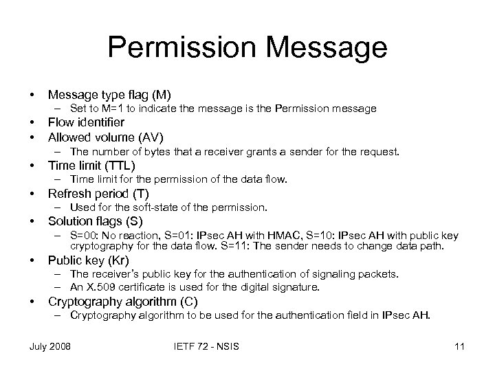 Permission Message • Message type flag (M) – Set to M=1 to indicate the