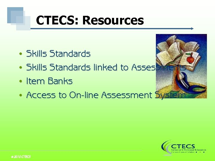 CTECS: Resources Skills Standards • Skills Standards linked to Assessments • Item Banks •