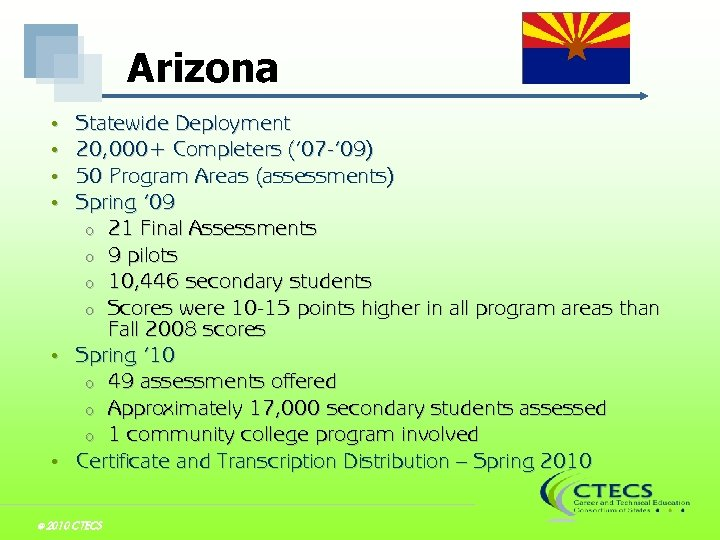 Arizona Statewide Deployment 20, 000+ Completers (' 07 -' 09) 50 Program Areas (assessments)