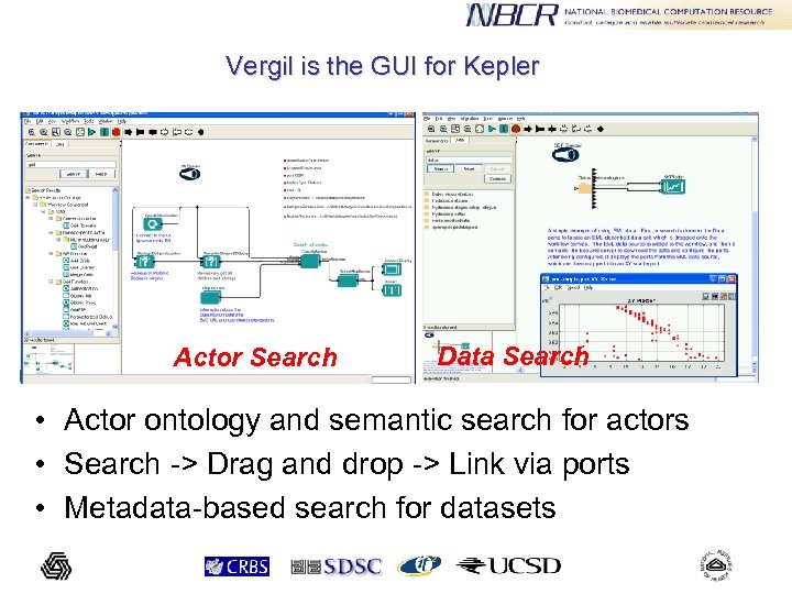 Vergil is the GUI for Kepler Actor Search Data Search • Actor ontology and