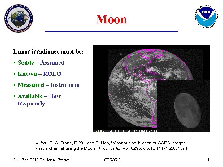 Moon Lunar irradiance must be: • Stable – Assumed • Known – ROLO •