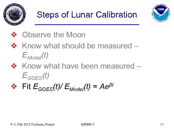 Steps of Lunar Calibration v Observe the Moon v Know what should be measured