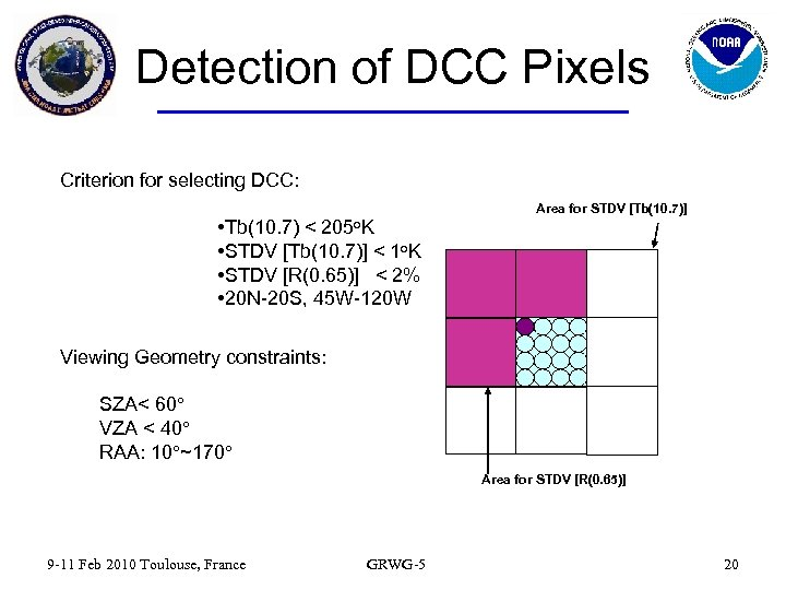Detection of DCC Pixels Criterion for selecting DCC: • Tb(10. 7) < 205 o.