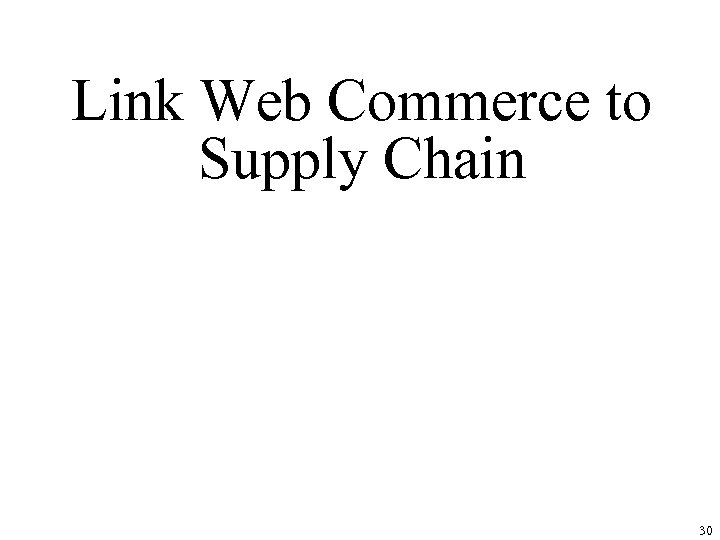 Link Web Commerce to Supply Chain 30