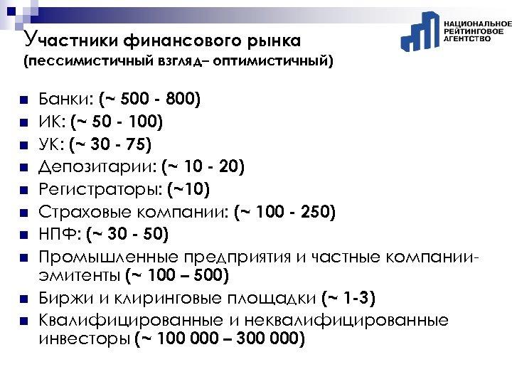 Участники финансового рынка (пессимистичный взгляд– оптимистичный) n n n n n Банки: (~ 500