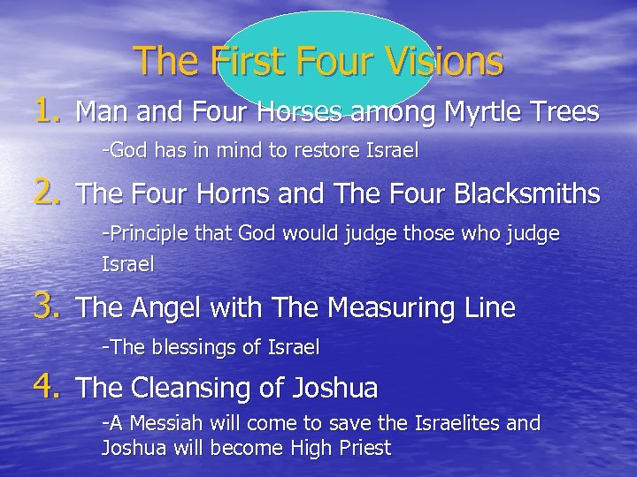 The First Four Visions 1. Man and Four Horses among Myrtle Trees -God has