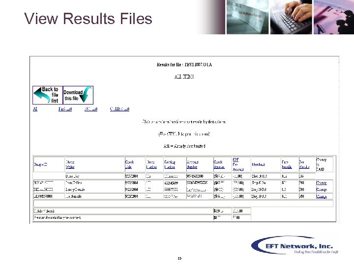 View Results Files 15