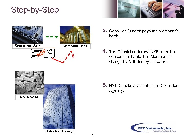 Step-by-Step 3. 4. The Check is returned NSF from the consumer's bank. The Merchant