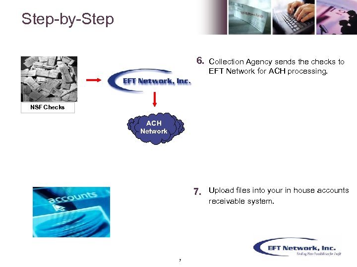 Step-by-Step 6. Collection Agency sends the checks to EFT Network for ACH processing. NSF