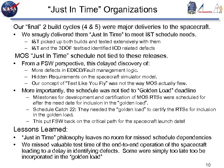 """""""Just In Time"""" Organizations Our """"final"""" 2 build cycles (4 & 5) were major"""