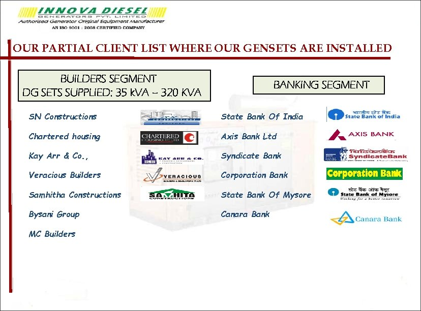 OUR PARTIAL CLIENT LIST WHERE OUR GENSETS ARE INSTALLED BUILDERS SEGMENT DG SETS SUPPLIED: