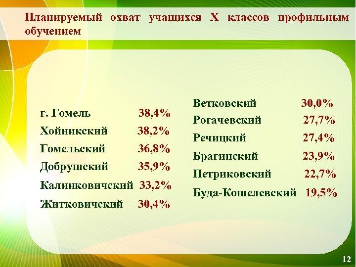 Планируемый охват учащихся Х классов профильным обучением г. Гомель 38, 4% Хойникский 38, 2%