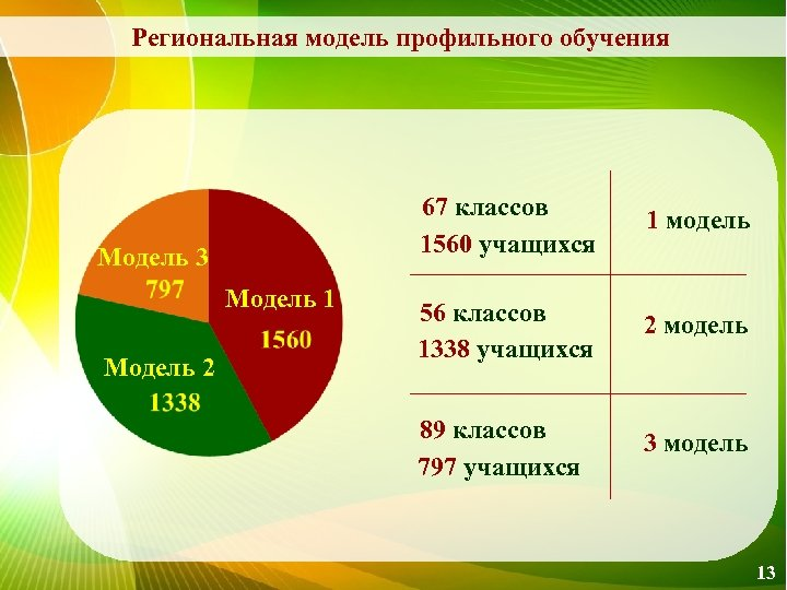Региональная модель профильного обучения 67 классов 1560 учащихся Модель 3 Модель 1 Модель 2