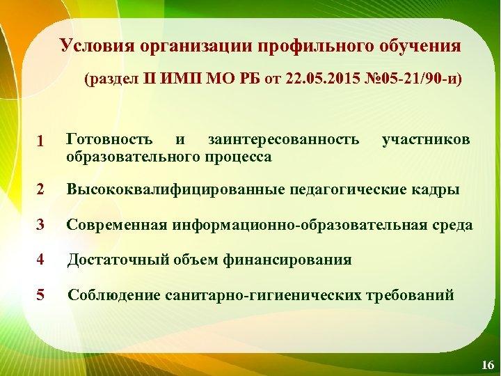 Условия организации профильного обучения (раздел II ИМП МО РБ от 22. 05. 2015 №